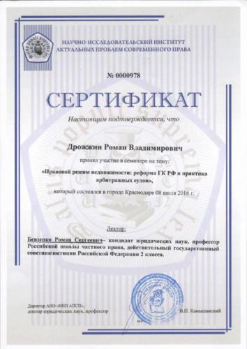 Сертификат семинар 2019 (прав.режим)-Дрожжин Р.В.