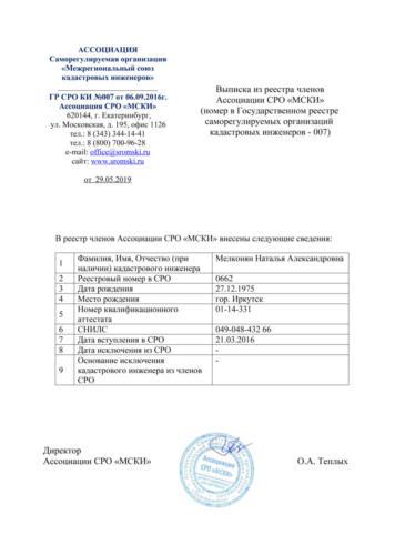 Выписка из реестра членов СРО-Мелконян Н.А.